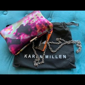 Brand new Karen Millen Multicolored satin clutch.